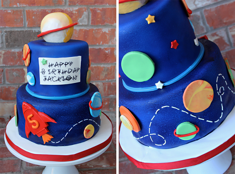 Outer Space Rocket Ship Cake Layered